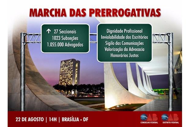 a36fe92659df Marcha das Prerrogativas marcará passagem da Caravana pelo DF no dia 22 de  agosto